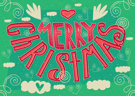 Greeting card with lettering Merry Christmas. International postcard format 148:105