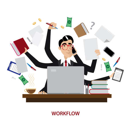 Vector illustration on white background featuring a successful and busy multi-tasking businessman