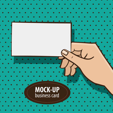 Man holding mockup business card on the retro style background