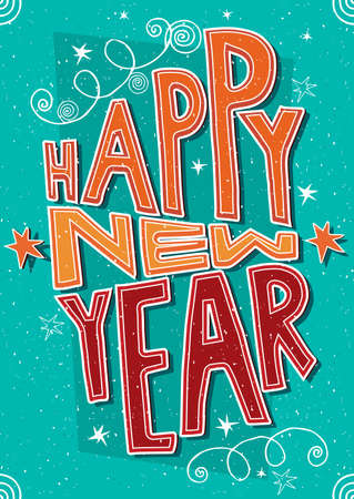 Greeting card with lettering Happy New Year. International postcard format 105:148