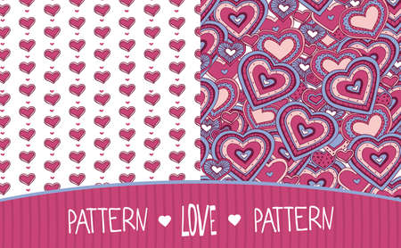Set of two seamless Love patterns with hearts