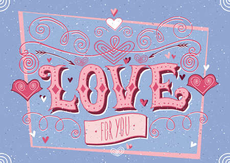 Greeting card for guy and lettering with desaturated blue color - Big Love for you