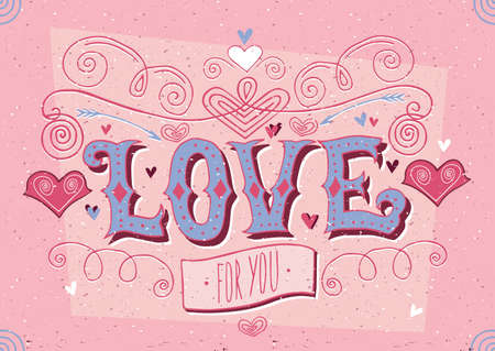 Greeting card for girl and lettering with soft red color - Big Love for you