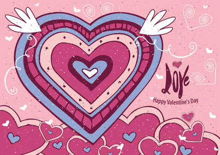 Greeting card with big heart and soft colors - Valentine's Day card concept