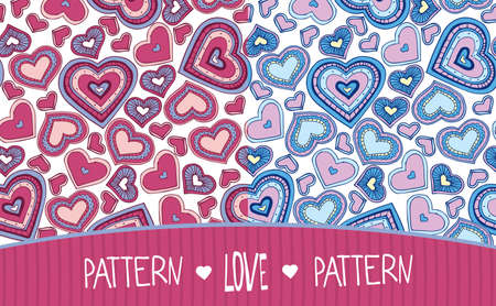 Set of two seamless Love patterns soft colors with hearts