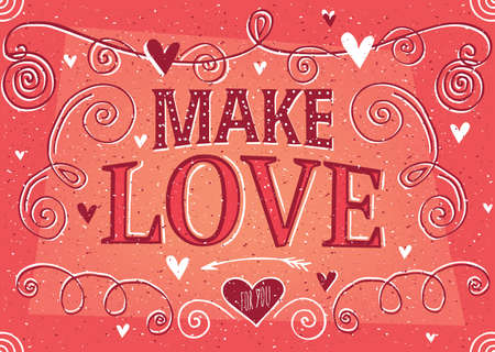 Make Love lettering in vintage style with soft red color - Valentine's Day card concept