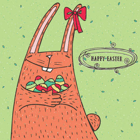 Happy Easter greeting card with funny Easter rabbit and Easter eggs