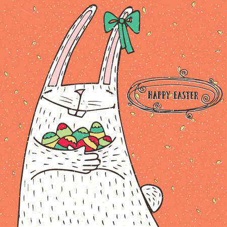 Happy Easter greeting card with Easter bunny and Easter eggs
