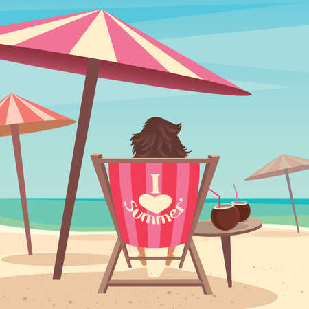 Girl sitting on a deck chair under an umbrella by the sea - Relax or laze concept