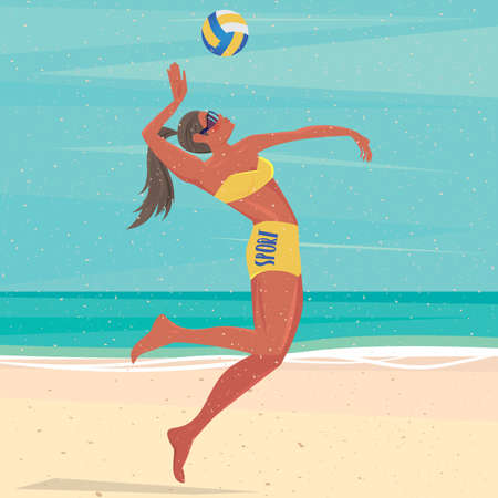 Volleyball player on a beach jumping hits the ball - Fitness or training concept
