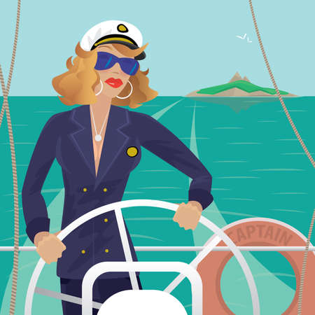 Serious female sea captain standing on the deck of the ship and rotates ship steering wheel. Sunny weather. Behind you can see the island - Profession or Sailor concept