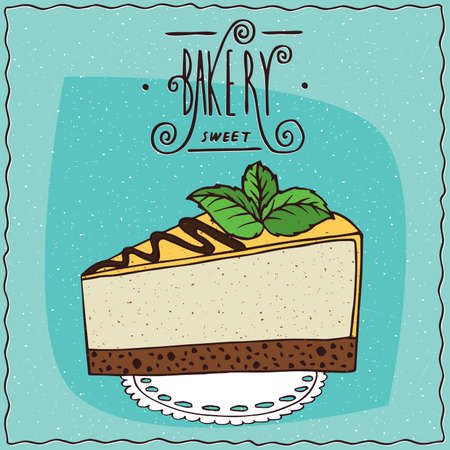 Beautiful cheesecake or a piece of cake with yellow or lemon coated with mint leaves on top, lie on a lacy napkin. Ornate lettering bakery. Handmade cartoon style