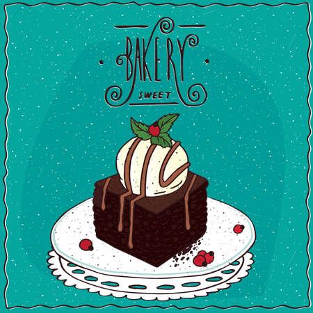 Vektor für Square brownie with vanilla ice cream, lie on lacy napkin. Cyan background and ornate lettering bakery. cartoon style - Lizenzfreies Bild