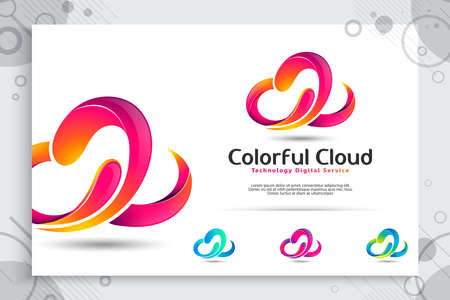 Illustration pour 3d colorful cloud vector logo with modern concept and color design , abstract illustration of cloud as a of symbol icon technology digital template service - image libre de droit