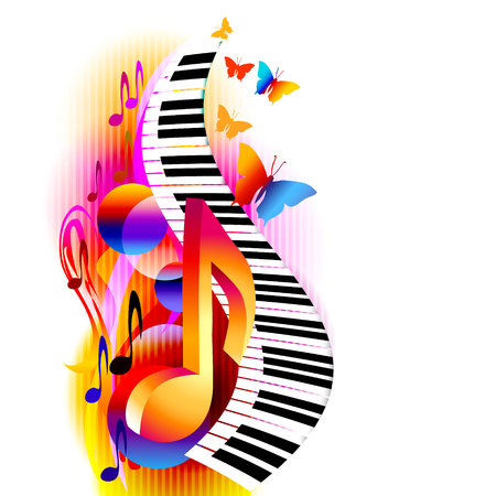 Illustration pour Colorful 3d music notes with piano keyboard and butterfly. Music background for poster, brochure, banner, flyer, concert, music festival - image libre de droit