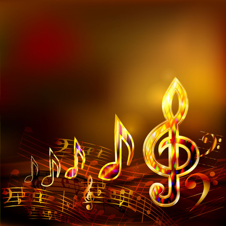 Illustration pour Dark music background with golden musical notes and treble clef - image libre de droit