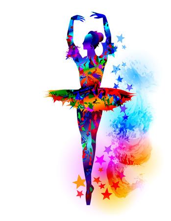 Illustration pour Colourful ballet dancer, vector illustration - image libre de droit