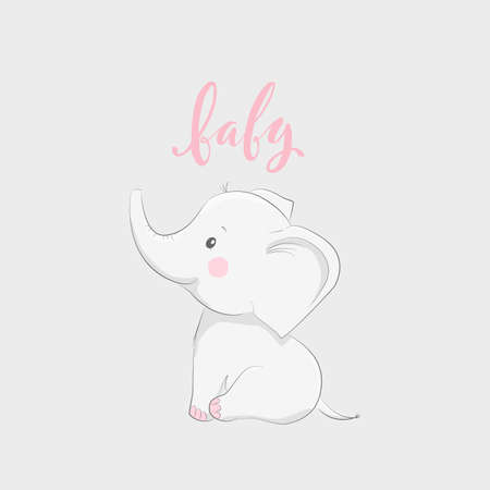 Illustration pour Cute vector illustration with elephant and baby text - image libre de droit