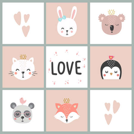 Illustration pour Set of cute vector illustration with animal baby for baby wear and invitation card. - image libre de droit