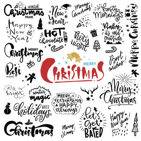 Illustration for Set of hand drawn christmas quotes with lettering. Freehand Fonts with Christmas Wishes for cards, paper, banners - Royalty Free Image