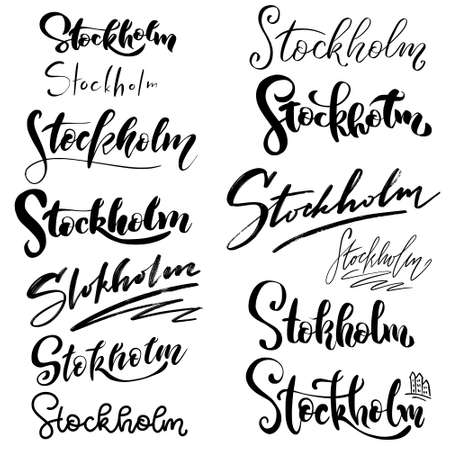 Illustration pour Set of Hand lettering Stockholm - name of city. With abstract background. Handlettering of Sweden city - Stockholm. Modern brush logo, calligraphy. Hand drawn ornament for wrapping paper - image libre de droit
