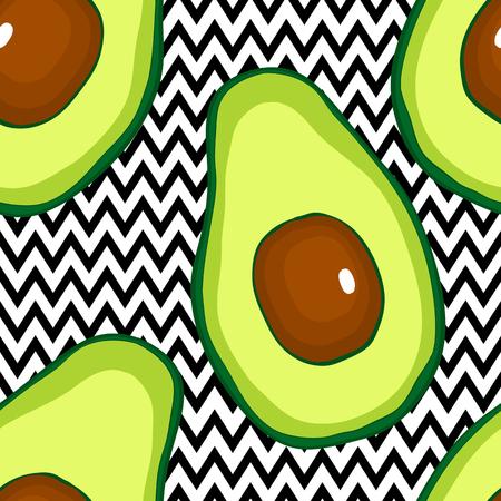 Ilustración de Seamless pattern with avocado hand drsw vector food - Imagen libre de derechos