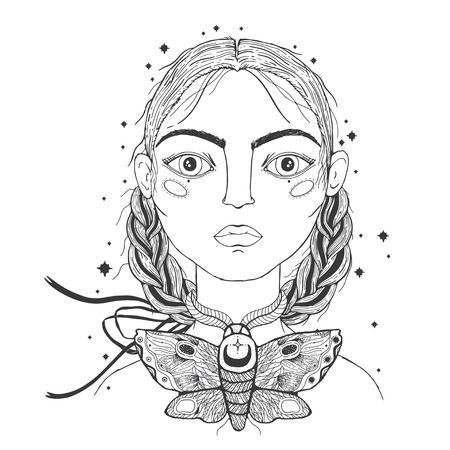 Beautiful young girl, face foreground. Vintage sketch style of drawing. Sketch for tattoo, isolated print on t-shirt. Magical, mystical, ethnic style. Vector illustration.