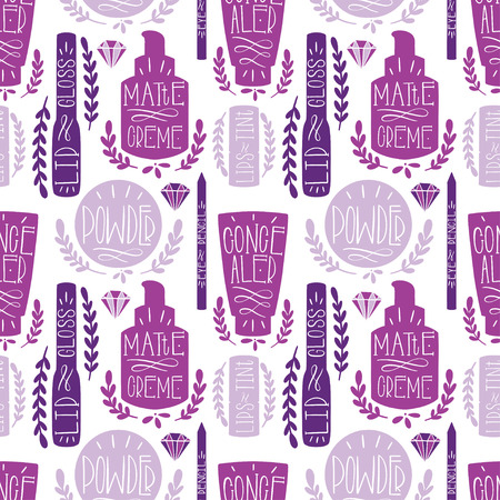 Beauty cosmetic makeup seamless pattern hand draw. Label Hand made production. Vector illustration