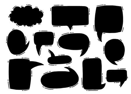 Illustration pour Collection hand drawn communicate speech. Design element business message. Vector illustration. - image libre de droit