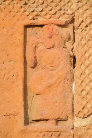 The Radha Gobinodo temple in Jaydev -Kenduli in Birbhum District of the West Bengal State in India has exquisite terracotta carvings  This part of the temple shows a dancer