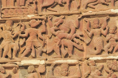 The Radha Gobinodo temple in Jaydev -Kenduli in Birbhum District of the West Bengal State in India has exquisite terracotta carvings  This part of the temple shows different lifestyles