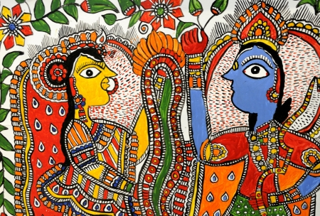 A handicraft of Hindu God Krishna and Hindu Goddesses Radha