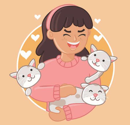 Ilustración de Happy animals owners cartoon characters. Fit for posters, cards etc. - Imagen libre de derechos