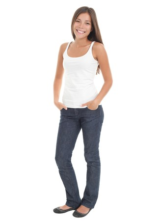 Beautiful young woman in her 20s standing in full body in casual wear isolated on white background . Mixed race Asian Caucasian girl.