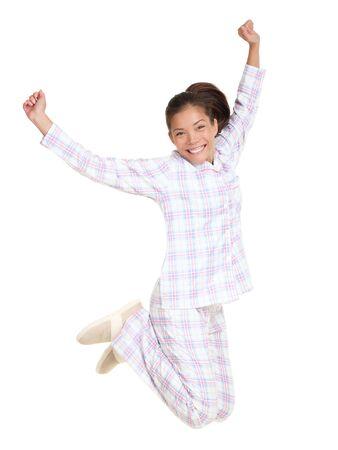 Jumping pajamas woman morning fresh and cheerful.