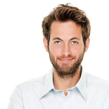 Portrait of handsome young man isolated on white background. Caucasian man with beard smiling.