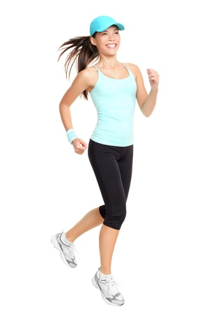Running fitness woman isolated on white background. Mixed race Asian Caucasian female fitness model.