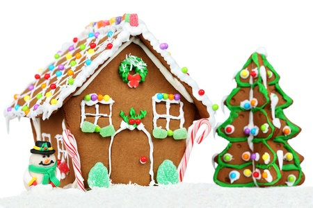 Christmas Gingerbread House Background.Gingerbread House Isolated On White Background With