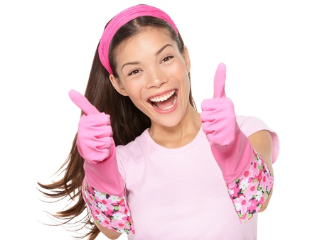 Cleaning woman happy excited showing thumbs up success hand
