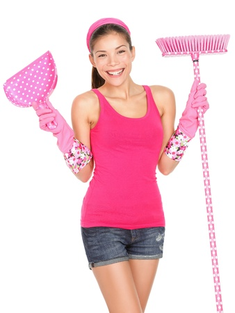Cleaning woman standing beautiful during spring cleaning with broom  Cute happy smiling woman cleaning wearing pink rubber gloves  Mixed race Caucasian   Asian female model isolated on white background