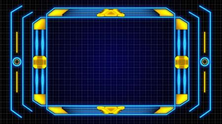 Foto de Monitor Screen Border With Orange-Blue Digital Elements Details and Grid Background - Imagen libre de derechos