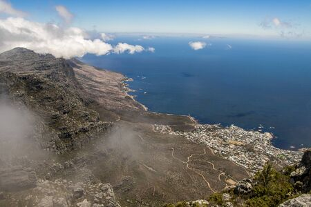Photo pour Gigantic view from Table Mountain on Cape Town, Sea Point Promenade and the sea. South Africa's MUST HAVE! - image libre de droit