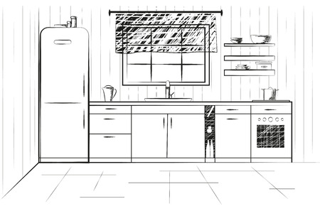 Sketch cuisine. Plan kitchen illustration. Quick drawing
