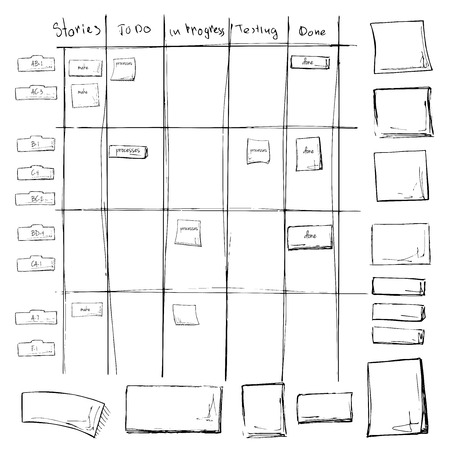 Illustration pour Scrum task board. Agile process in whiteboard table with sticky notes. Vector illustration in sketch style. - image libre de droit