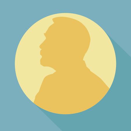 Illustration pour Stylized Nobel medal. Silhouette of Nobel in a flat style. Vector illustration. - image libre de droit
