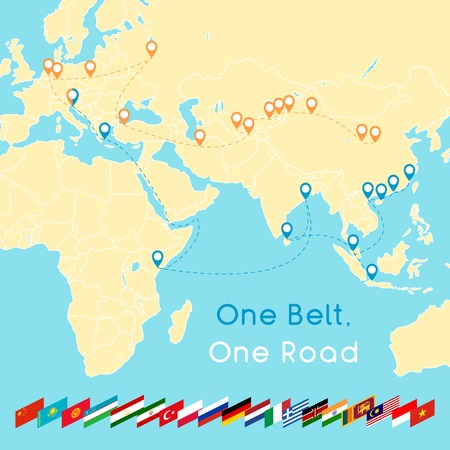 Illustration pour One Belt One Road new Silk Road concept. 21st-century connectivity and cooperation between Eurasian countries. Vector illustration. - image libre de droit