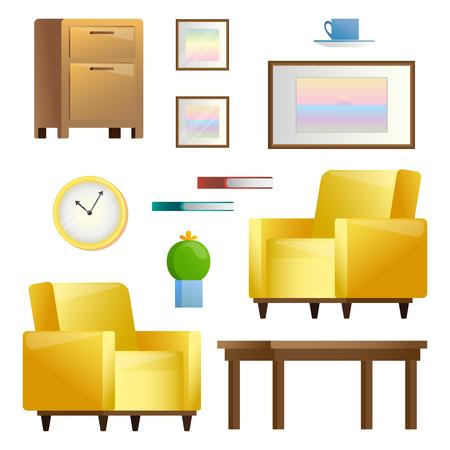 Illustration pour Set of different interior elements. Living room. Vector illustration in flat style. - image libre de droit