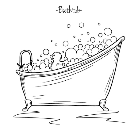 Sketch bath foam and rubber duck. Vector illustration in sketch style.