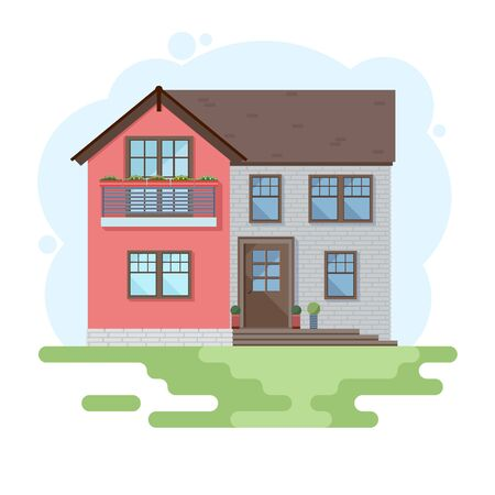 Illustration for Stylish house against the sky and other elements of the environment. House in a flat style. Vector illustration - Royalty Free Image