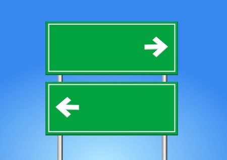 Illustration for road sign and blue sky. - Royalty Free Image
